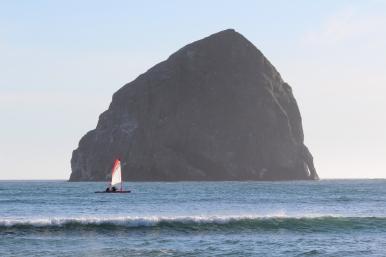 Upwind with Haystack Rock